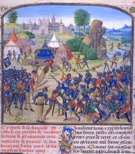 bataille de Chizéentre Français et Anglais (1373).(BNF , FR 2643)Jean Froissart, ChroniquesFlandre, Bruges XVe s. (170 x 200 mm)